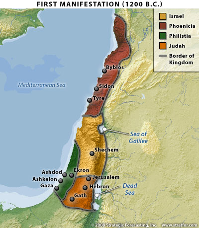 Israel's first manifestation, map