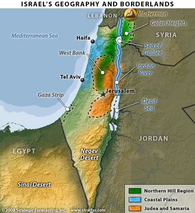 Israel's geography and borderlands, map